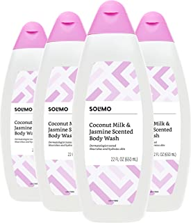 Amazon Brand - Solimo Body Wash, Coconut Milk and Jasmine Scented, 22 Fluid Ounce (Pack of 4)