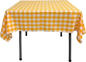 LA Linen Checkered Overlay Tablecloth, 58 by 58-Inch, Dark yellow