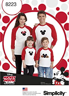 Simplicity 8223 Disney Mickey Mouse Baseball Tee Sewing Pattern, Adults and Kid's Sizes S-XL