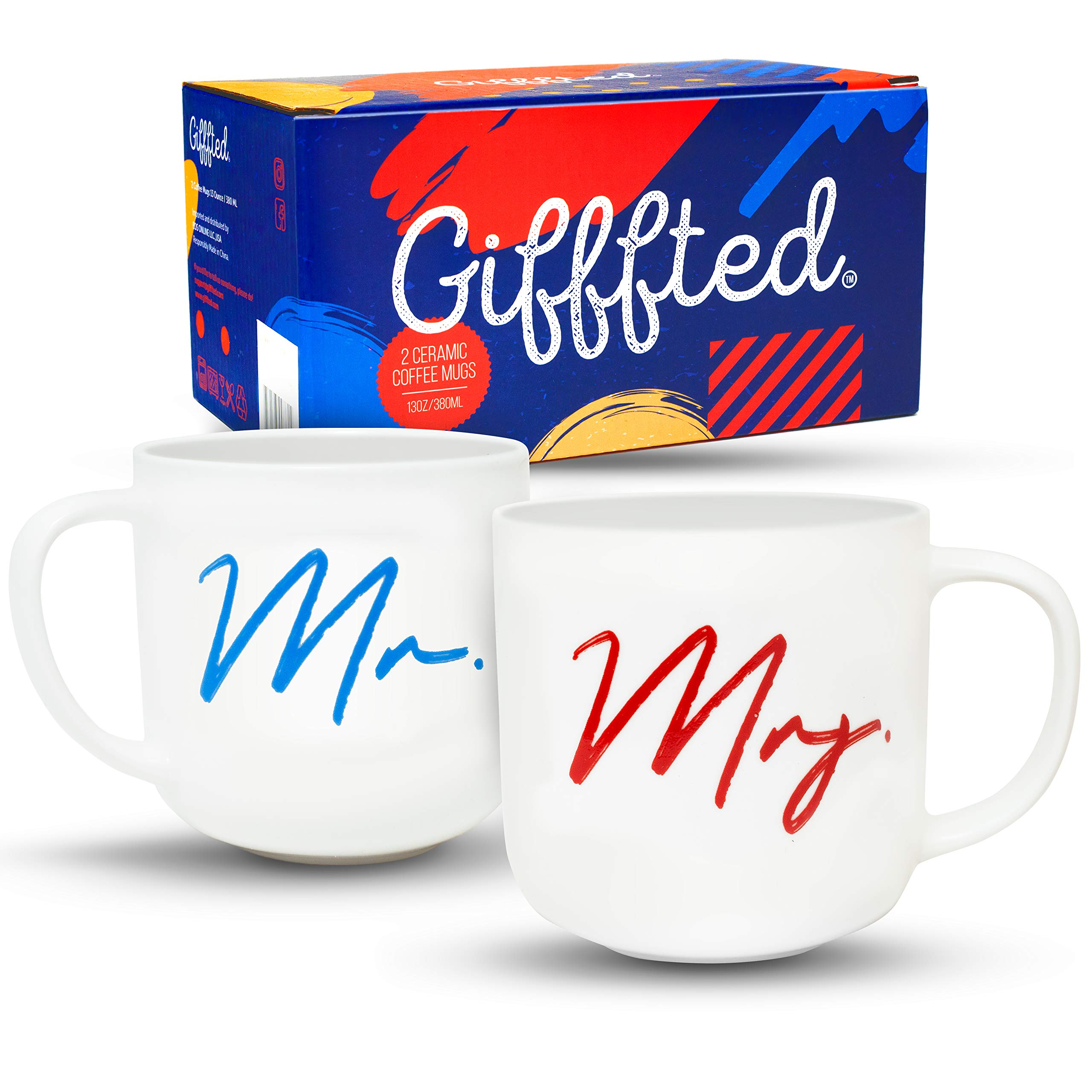 Gifffted Mr And Mrs Coffee Mugs Set Funny His And Hers Couple Wedding Year Engagement Gift Ideas For Couples Unique Friends Husband Wife Mom Dad Parents Presents Day 2 Cups V2 Cups