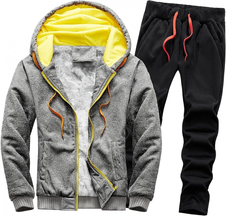Mens Hooded Sherpa Jacket Tracksuits Full Zipper Fluffy Fleece Hoodie Coat & Long Pants Fall Winter Running Jogging Set