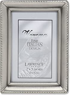 Lawrence Frames Antique Pewter 2x3 Picture Frame - Beaded Edge Design