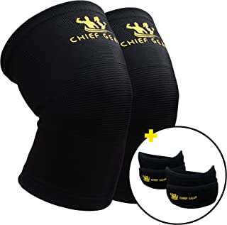 Knee Compression Sleeves (1 Pair) with Free Patella Knee Braces By Chief Gear- Knee Support & Compression, Protects Patella, Fast Recovery & Pain Relief- Both Women & Men