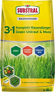 Substral 3 in 1 Komplett Rasendünger mit Unkrautvernichter und Moosvernichter, 14 kg für 400 m²