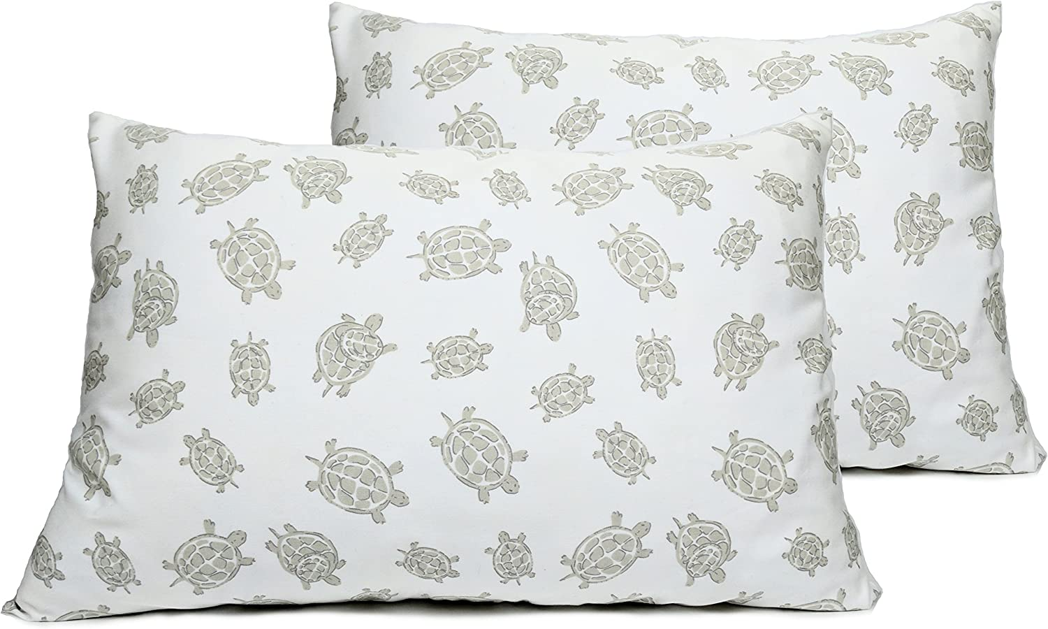 2 Toddler or Travel Pillowcases in Organic Cotton to Fit 13 x 18 and 14 x 19 Pillow, Turtle Print (Grey)