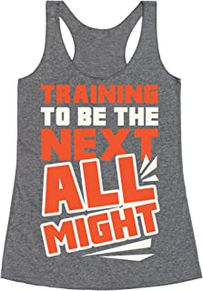 LookHUMAN Training to Be The Next All Might Heathered Black Women's Racerback Tank