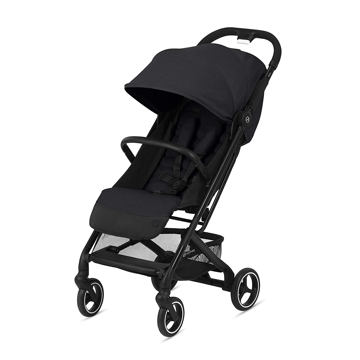 CYBEX Beezy Stroller, Lightweight Baby Stroller, Compact Fold, Compatible with All CYBEX Infant Seats, Stands for Storage, Easy to Carry, Multiple Recline Positions, Travel Stroller, Deep Black