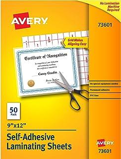 """Avery Self-Adhesive Laminating Sheets, 9"""" x 12"""", Permanent Adhesive, 50 Clear Laminating Sheets (73601) (Renewed)"""