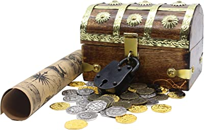 TOPBATHY Treasure Chest Piggy Bank Jewelry Box Wooden Antique Keepsake Case Vintage Metal Lock Retro Wood Organizer Kids Large Size