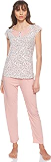 JOANNA Women's Floral Pattern Pajama Set, Medium, Light Pink