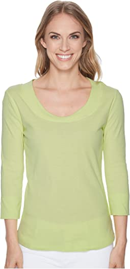 Cotton Rib 3/4 Sleeve Crew Neck Top