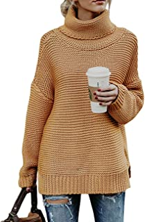 Ray-JrMALL Women Turtleneck Sweater Long Sleeve Casual Chunky Loose Cable Knit Pullover Sweater Tops