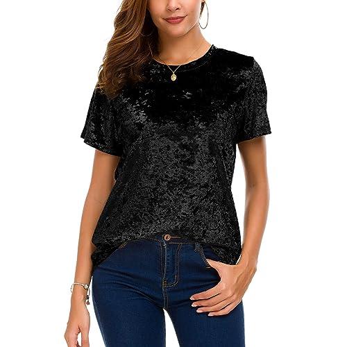 3d867812a8d794 Women's Crew Neck Velvet Top Short Sleeve T-Shirt