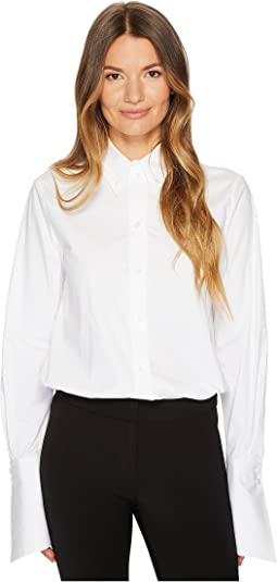Jil Sander Navy Cotton Poplin Long Sleeve Collared Shirt