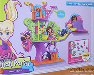 POLLY POCKET WALL PARTY TREEHOUSE Playset w TREE HOUSE has BASKET & SLIDE, Polly DOLL, CAT & More! (2012)