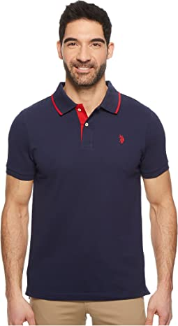 Short Sleeve Slim Fit Solid Stretch Pique Polo Shirt