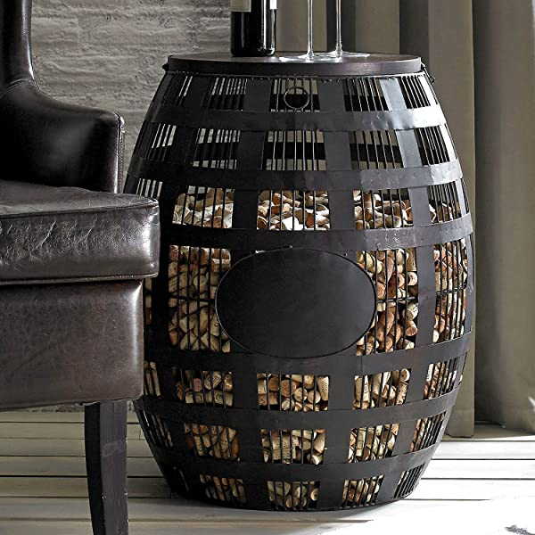Wine Enthusiast Barrel Cork Catcher Side Table Holds 2 000 Corks