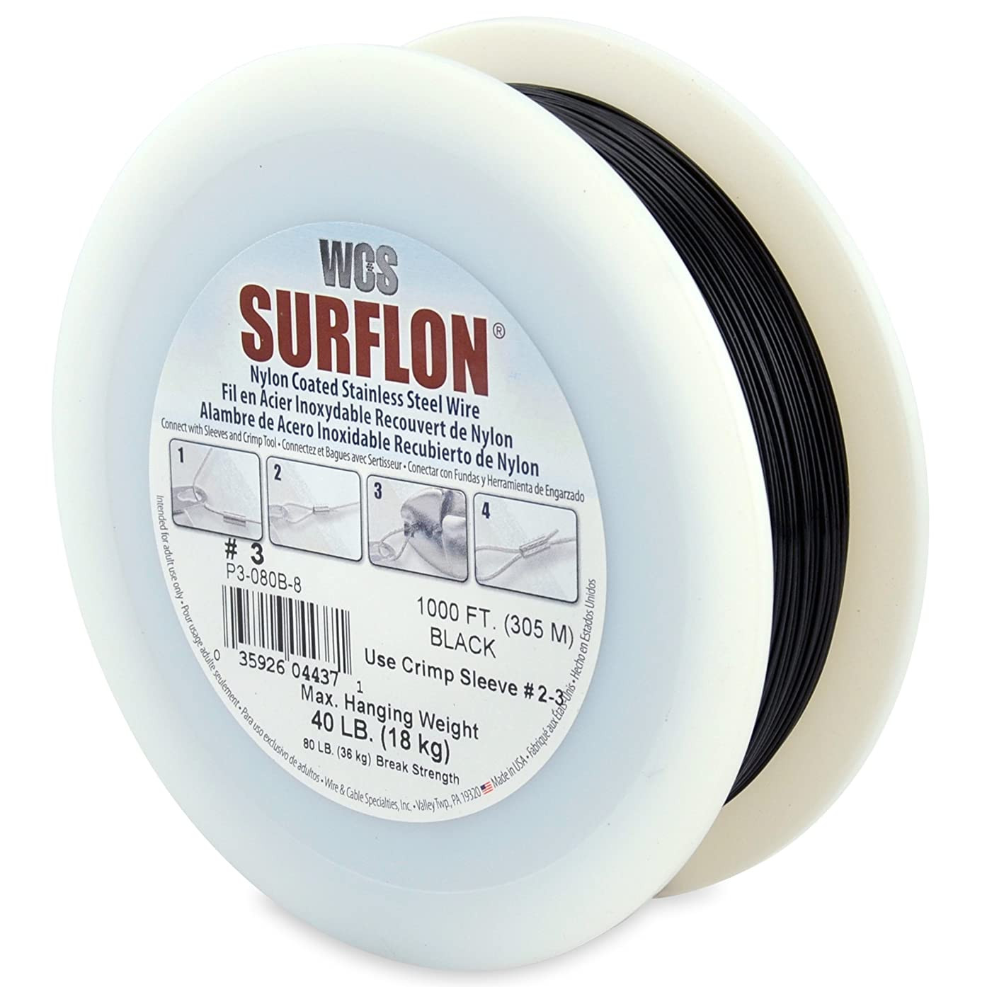 Surflon Size 3-40-Pound Break 1000-Feet Crimping Picture Wire Nylon Coated Stainless Steel, Black