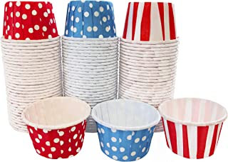 Dr. Seuss Themed Candy Nut MINI Baking Paper Treat Cups - Red White Blue - Stripe Polka Dot - 100 Pack