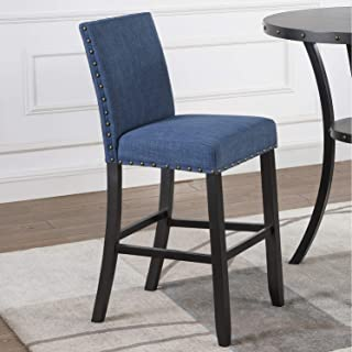 Roundhill Furniture Biony Fabric Bar Stools with Nailhead Trim (Set of 2), Blue
