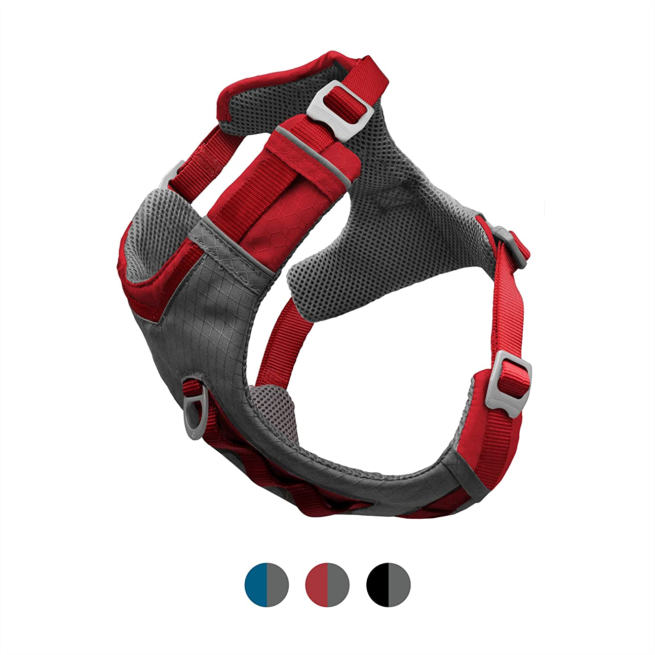 Kurgo Dog Harness for Large, Medium & Small Dogs | Reflective Harness for Running, Walking & Hiking | Everyday Adventure Pet Journey Air Style | Black | Blue | Red