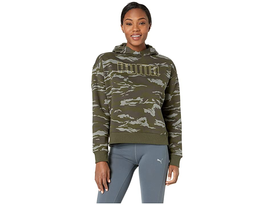 PUMA Camo Cropped Hoodie (Forest Night All Over Print) Women