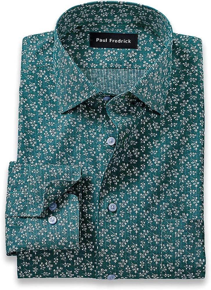 Paul Fredrick Men's Tailored Fit Non-Iron Cotton Circle Print Dress Shirt