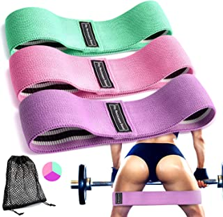 Resistance Hip Bands,Acokki Booty Bands Non-Slip Circle Fabric Strength Bands for Legs and Butt Workout Program 3 Pack Set