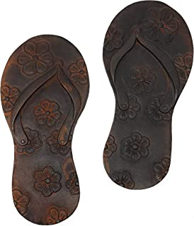 Miller Horticultural Decorative Cast Iron Flip Flops with Floral Design Stepping Stones, Set of 2, 12.75 Inches Long