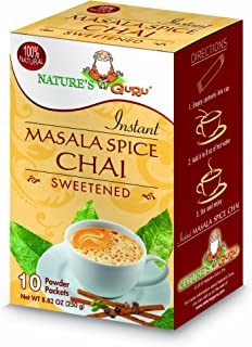 Nature's Guru Instant Masala Spice Chai Tea Drink Mix Sweetened 10 Count Single Serve On-the-Go Drink Packets (Pack of 4)