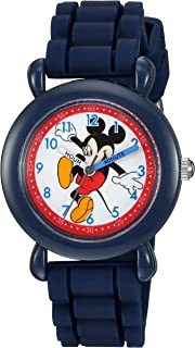 DISNEY Boys' Mickey Mouse Analog-Quartz Watch with Silicone Strap, Blue, 16 (Model: WDS000012