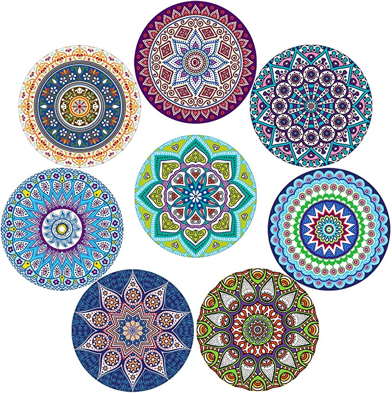 Coasters For Drinks Absorbent Ceramic Stone With Cork Backing Mandala Style Coaster Suitable For Kinds Of Cups And Mugs Protect Your Furniture From Spills Scratches Water Rings And Damage Set Of 8