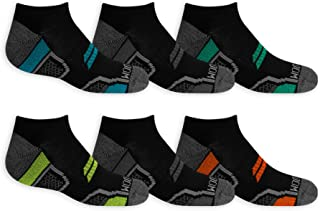 Fruit of the Loom Boys' Everyday Active Cushioned No Show Socks 6 Pair, Black Asst, Shoe Size: 3-9