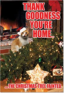 Tree Fainted Cat - Funny Merry Christmas Note Card with Envelope (4.63 x 6.75 Inch) - Christmas Tree Happy Holidays Greeting for Cat Lovers - Funny Pet Animal Xmas Notecard C2546XSG