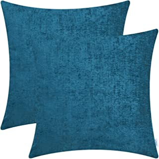 Best CaliTime Pack of 2 Cozy Throw Pillow Covers Cases for Couch Sofa Home Decoration Solid Dyed Soft Chenille 22 X 22 Inches Ocean Blue Review