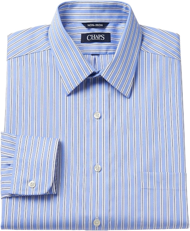Chaps Men's Classic Fit Thick Striped Dress Shirt, Blue Multi