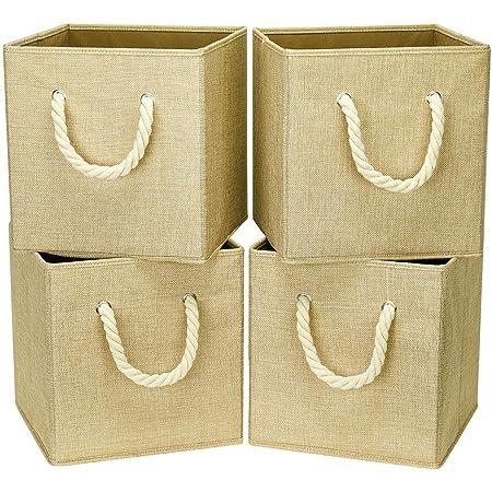 i BKGOO Lot de 4 bacs cubiques de rangement pliables Organisateur de boîte en tissu lin kaki avec poignée en corde de coton pour bureau à domicile et crèche 26,5x26,5x28 cm