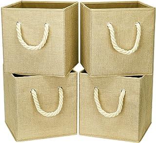 i BKGOO Lot de 4 bacs cubiques de rangement pliables Organisateur de boîte en tissu lin kaki avec poignée en corde de coto...