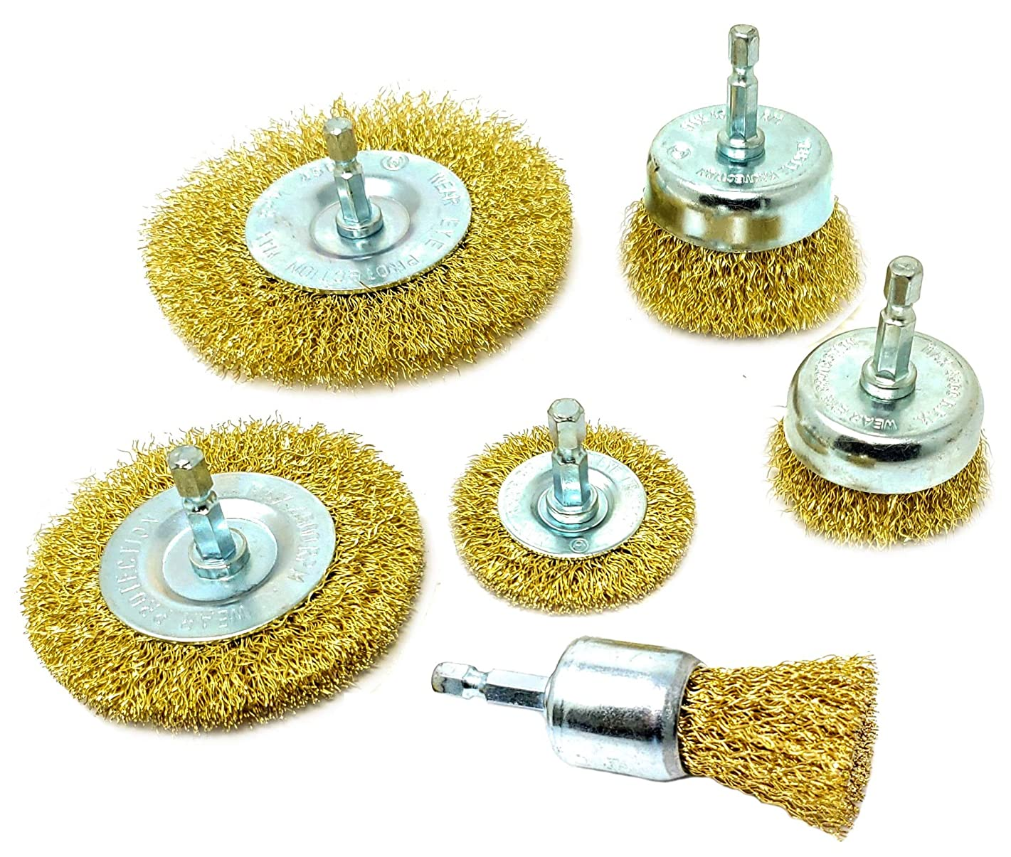 Wire Brush Kit For Drill (Set of 6) Brass Coated