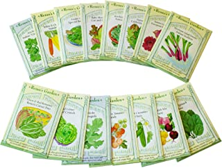 Gourmet Salad Garden Seeds Collection - 15 Seed Packets - Premium Salad Vegetable Gardening Seeds by Renee's Garden - Carrot, Tomato, Lettuce, Onion, Cucumber, Kale & More