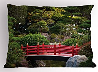 Japanese Pillow Sham, Bridge Over Pond in Japanese Garden Monte Carlo Monaco with Trees and Plants, Decorative Standard Queen Size Printed Pillowcase, 30 X 20 inches, Red and Green