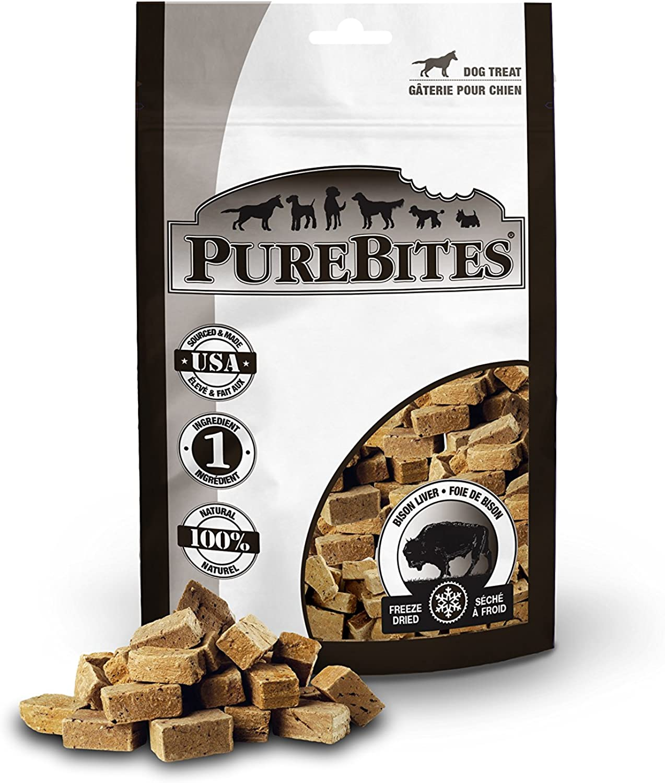 Purebites Bison Liver For Dogs, 2.6Oz   74G  Mid Size, 24 Pack