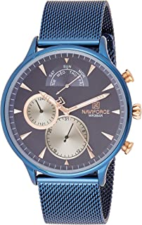 Naviforce Men's Blue Dial Stainless Steel Mesh Analogue Classic Watch - NF3010-BEBE