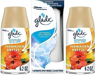 Glade Automatic Spray Holder and Hawaiian Breeze Refill Starter Kit (Holder + 2 Refills), Battery-Operated Holder for Automatic Spray Refill, Up to 60 Days of Freshness, 2 6.2 oz Refill