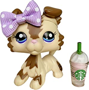 LovePets lps Collie 2210, lps Collie Tan and Brown Strap with Purple Eyes lps Accessories Bow Kids Gift