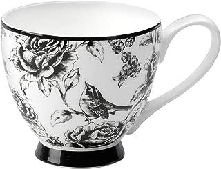 Portobello by Inspire Fine Bone China Amalia Footed Mug, Black/White