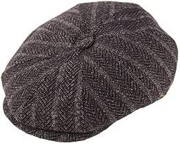 Men's 100% Winter Wool Herringbone Snap Newsboy Drivers Cabbie Cap Hat