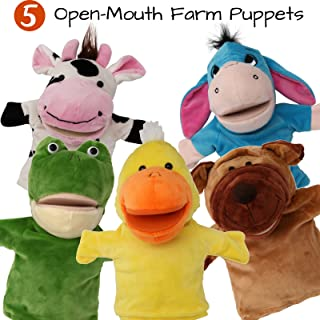 5-Piece Set Animal Hand Puppets with Open Movable Mouth / Zoo, Safari, Farm, Jungle / Cow, Duck, Brown Dog, Frog and Donkey