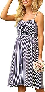 Women Maternity Striped Cami Dress Spaghetti Straps...