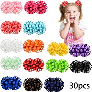 30PCS/15Pairs Baby Girls Bow Elastic Ties 3inch Grosgrain Ribbon Hair Bows with Ties Kids Children Rubber Bands Ponytail Holders for Baby Girls Teens Toddlers in Pairs